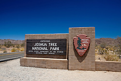 National Park Service welcome sign to Joshua Tree National Park, California, United States of America