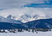 Late Autumn snowstorm covers the Mosquito Range in Colorado