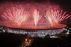 August 18, 2018 - Jakarta, Jakarta, Indonesia - Fireworks explode over the Gelora Bung Karno main stadium during the opening ceremony of the 2018 Asian Games in Jakarta on August 18, 2018. (Photo by Aditya Irawan/NurPhoto) (Credit Image: © Dasril Roszandi/NurPhoto via ZUMA Press)
