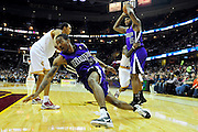 Oct. 30, 2010; Cleveland, OH, USA; Sacramento Kings shooting guard Luther Head (9) slips and falls along the baseline during the second quarter against the Cleveland Cavaliers at Quicken Loans Arena. Mandatory Credit: Jason Miller-US PRESSWIRE