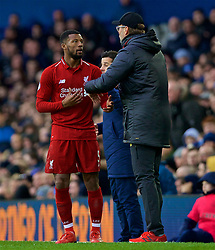 LIVERPOOL, ENGLAND - Sunday, March 3, 2019: Liverpool's manager Jürgen Klopp issues instructions to Georginio Wijnaldum during the FA Premier League match between Everton FC and Liverpool FC, the 233rd Merseyside Derby, at Goodison Park. (Pic by Laura Malkin/Propaganda)