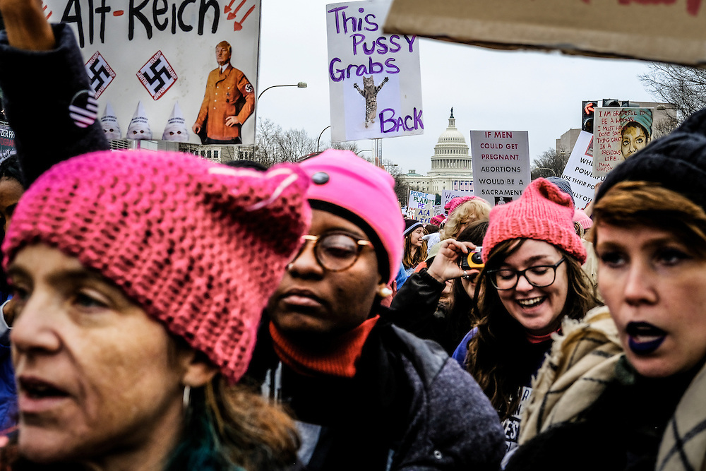 """Participants in the """"Women's March on Washington"""" demonstrate following the U.S. Presidential Inauguration of Donald J. Trump, at the National Mall in Washington, D.C., Saturday Jan. 21, 2017. ( William B. Plowman / REDUX Photo )"""