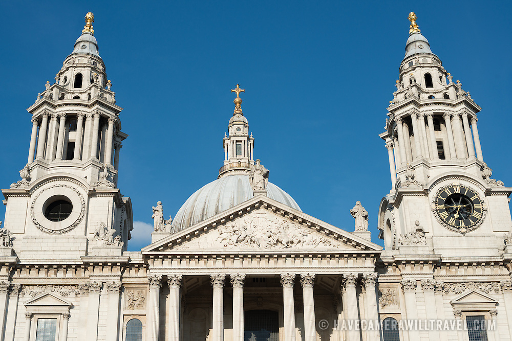 The twin spires of the front of St Paul's Cathedral, one of the most distinctive of London's landmarks. There has been a church on this site since 604 AD. The current building, with it's massive dome, was designed by Christopher Wren and dates back to the late 17th century.