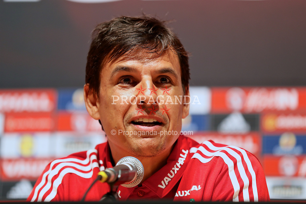 DINARD, FRANCE - Tuesday, June 7, 2016: Wales' manager Chris Coleman during a press conference at the Wales base in Dinard during the UEFA Euro 2016 Championship. (Pic by David Rawcliffe/Propaganda)