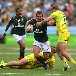 Action from the 2018 HSBC World Sevens Series Hamilton match between South Africa and Australia at FMG Stadium in Hamilton, New Zealand on Sunday, 4 February 2018. Photo: Kerry Marshall / lintottphoto.co.nz