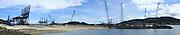 Vista panorámica del Puerto de Balboa de Panamá. El Puerto de Balboa es uno de los mas conocidos a nivel mundial debido a la cantidad de trafico que fluye a traves del canal de Panama.