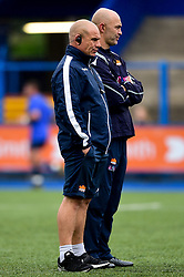 Edinburgh Rugby head coach Richard Cockerill prior to kick off with Calum McRae - Mandatory by-line: Ryan Hiscott/JMP - 05/10/2019 - RUGBY - Cardiff Arms Park - Cardiff, Wales - Cardiff Blues v Edinburgh Rugby - Guinness Pro 14