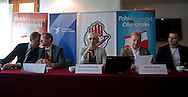 (L-R) Adam Krzesinski and Dariusz Buza and Krystyna Radkowska and Andrzej Supron and Marcin Zewlakow during press conference before National Day of Sport 2013 at Olympic Centre in Warsaw on October 17, 2013.<br /> <br /> Poland, Warsaw, October 17, 2013<br /> <br /> Picture also available in RAW (NEF) or TIFF format on special request.<br /> <br /> For editorial use only. Any commercial or promotional use requires permission.<br /> <br /> Mandatory credit:<br /> Photo by © Adam Nurkiewicz / Mediasport