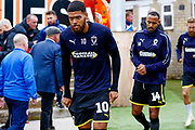 Wimbledon forward Jake Jervis (10), on loan from Luton Town,  comes onto the pitch to warm up during the EFL Sky Bet League 1 match between Accrington Stanley and AFC Wimbledon at the Fraser Eagle Stadium, Accrington, England on 22 September 2018.
