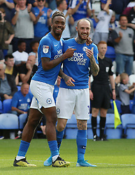 Ivan Toney of Peterborough United celebrates scoring his second goal of the game with team-mate Marcus Maddison - Mandatory by-line: Joe Dent/JMP - 14/09/2019 - FOOTBALL - Weston Homes Stadium - Peterborough, England - Peterborough United v Rochdale - Sky Bet League One