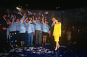 British Prime Minister, John Major and wife Norma acknowledges supporters during a Conservative party election rally on 18th March 1992, in Brighton, England. Major went on to win the election weeks later and was the fourth consecutive victory for the Conservative Party although it was its last outright win until 2015 after Labour's 1997 win for Tony Blair.