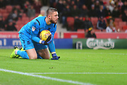 Stoke City goalkeeper Jack Butland (1) during the EFL Sky Bet Championship match between Stoke City and Derby County at the Bet365 Stadium, Stoke-on-Trent, England on 28 November 2018.