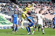 Brentford goalkeeper David Button during the Sky Bet Championship match between Milton Keynes Dons and Brentford at stadium:mk, Milton Keynes, England on 23 April 2016. Photo by Dennis Goodwin.