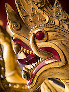 12 MARCH 2016 - LUANG PRABANG, LAOS: Nagas (mythical serpents) in a museum at Wat Xieng Thong, the oldest Buddhist temple in Luang Prabang, Laos. Laos is one of the poorest countries in Southeast Asia. Tourism and hydroelectric dams along the rivers that run through the country are driving the legal economy.       PHOTO BY JACK KURTZ