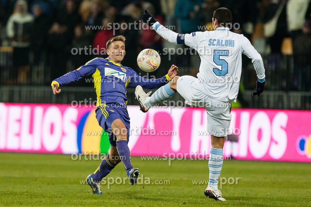 Dejan Mezga #8 of Maribor and Lionel Scaloni #5 of S.S. Lazio during football match between NK Maribor and S. S. Lazio Roma  (ITA) in 6th Round of Group Stage of UEFA Europa league 2013, on December 6, 2012 in Stadium Ljudski vrt, Maribor, Slovenia. (Photo By Gregor Krajncic / Sportida)