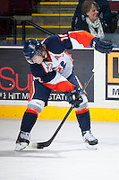 KELOWNA, CANADA - NOVEMBER 30: Chase Souto RW #12 of the Kamloops Blazers dangles the puck during warm up against the Kelowna Rockets on November 30, 2013 at Prospera Place in Kelowna, British Columbia, Canada.   (Photo by Marissa Baecker/Shoot the Breeze)  ***  Local Caption  ***