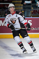 KELOWNA, CANADA - MARCH 15: Mason Geertsen #44 of the Vancouver Giants warms up against the Kelowna Rockets on March 15, 2014 at Prospera Place in Kelowna, British Columbia, Canada.   (Photo by Marissa Baecker/Getty Images)  *** Local Caption *** Mason Geertsen;