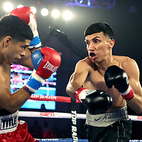 KISSIMMEE, FL - MAY 25: Jose Cardenas punches Antonio Vargas in the first round during their fight at Osceola Heritage Park on May 25, 2019 in Kissimmee, Florida. (Photo by Alex Menendez/Getty Images) *** Local Caption *** Antonio Vargas; Jose Cardenas
