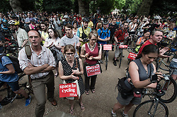 © Licensed to London News Pictures. 16/07/2013. London, UK. A mass demonstration of cyclists protesting about the danger of London's roads to cyclists congregate near the area in central london where a male cyclist was killed by a tipper lorry a day earlier.  The demonstration was organised by the London Cycling Campaign . Photo credit : Richard Isaac/LNP