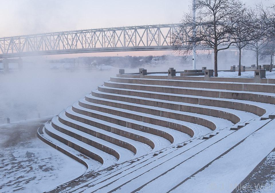 Serpentine Wall Riverfront Downtown Cincinnati in Winter
