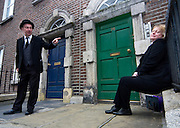 "Editorial Use Only. Bloomsday June  16th 2008, Dublin. Actor Paul O'Hanrahan from Balloonatics theatre company performs the ""Calypso"" chapter from  James Joyce novel Ulysses around Eccles St. and Dorset Street. Molly Blook sleeps on."