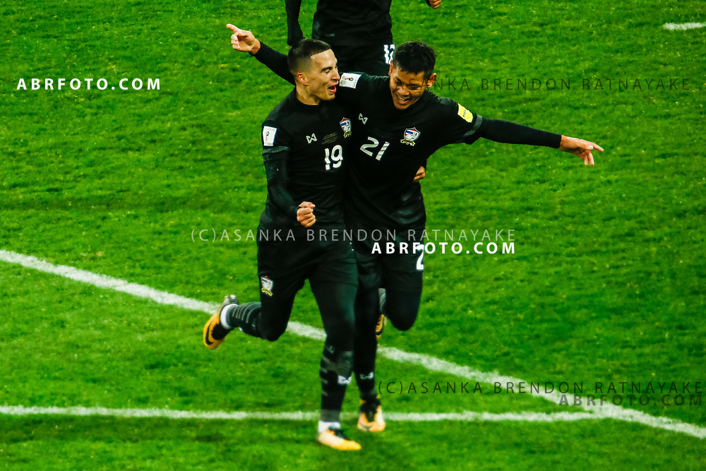 MELBOURNE, AUSTRALIA - SEPTEMBER 5 : Tristan Do of Thailand and Pokkhao Anan of Thailand celebrate after scoring a goal during the Stage 3 Group World Cup Football Qualifiers between Australia Vs Thailand at the Melbourne Rectangular Stadium, Melbourne, Australia 5 September 2017.