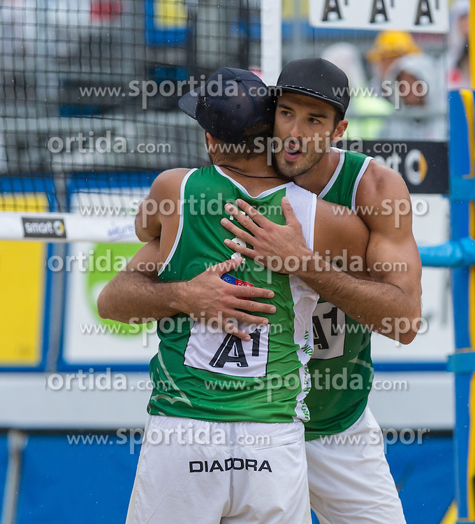 02.08.2015, Strandbad, Klagenfurt, AUT, A1 Beachvolleyball EM 2015, Halbfinale Herren, im Bild Alex Ranghieri 1 ITA / Adrian Ignacio Carambula 2 ITA // during Semifinal Final Men, of the A1 Beachvolleyball European Championship at the Strandbad Klagenfurt, Austria on 2015/08/02. EXPA Pictures © 2015, EXPA Pictures © 2015, PhotoCredit: EXPA/ Mag. Gert Steinthaler