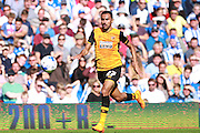 Hull City midfielder Ahmed Elmohamady sprints for the loose  ball during the Sky Bet Championship match between Brighton and Hove Albion and Hull City at the American Express Community Stadium, Brighton and Hove, England on 12 September 2015. Photo by Bennett Dean.