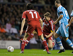 Liverpool, England - Wednesday, October 3, 2007: Liverpool's Steven Gerrard MBE in action against Olympique de Marseille during the UEFA Champions League Group A match at Anfield. (Photo by David Rawcliffe/Propaganda)
