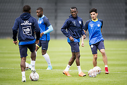 June 21, 2018 - Gent, BELGIUM - KAA Gent's new player Jean-Luc Dompe and Gent's new player Ahmed Mostafa pictured in action during a training session of Belgian soccer team KAA Gent, ahead of the 2018-2019 Jupiler Pro League season, Thursday 21 June 2018, in Gent. BELGA PHOTO JASPER JACOBS (Credit Image: © Jasper Jacobs/Belga via ZUMA Press)