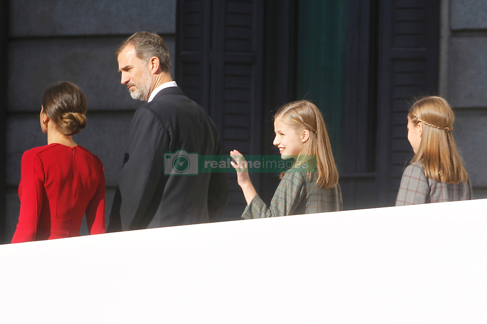 King Juan Carlos, King Felipe, Queen Letizia, Queen Sofía, Princess Leonor and Princess Sofia attend the celebration of the 40 anniversary of the constitution at the national congress on December 6, 2018 in Madrid, Spain. Photo by Archie Andrews/ABACAPRESS.COM
