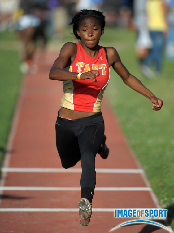 May 23, 2012; Lake Balboa, CA, USA; Kaneshia Lee of Taft places third in the girls triple jump at 36-3 1/2 in the 2012 CIF Los Angeles Section championships at Birmingham High.
