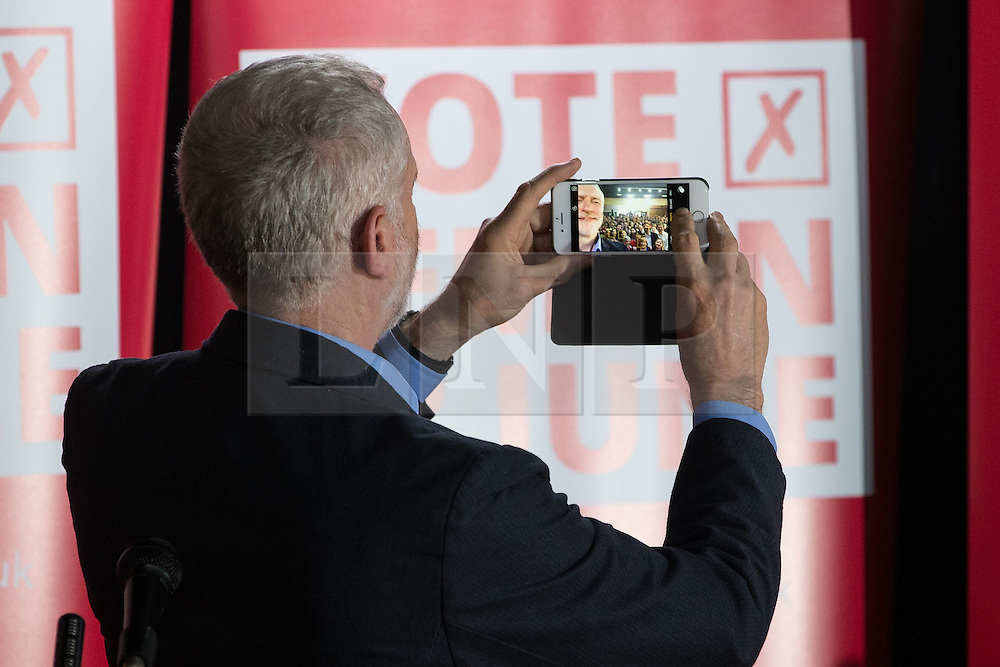© Licensed to London News Pictures . 13/05/2016 . Liverpool , UK . Labour Party leader , JEREMY CORBYN , poses for a selfie with the audience at a rally to encourage students to register to vote in the EU referendum , at the Casa Bar in Liverpool . Photo credit : Joel Goodman/LNP