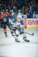 KELOWNA, CANADA - FEBRUARY 18: Rourke Chartier #14 of Kelowna Rockets skates against the Kamloops Blazers on February 18, 2015 at Prospera Place in Kelowna, British Columbia, Canada.  (Photo by Marissa Baecker/Shoot the Breeze)  *** Local Caption *** Rourke Chartier;