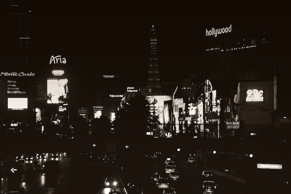 Road traffic on the Las Vegas Boulevard or Strip with a collection of luxury hotels and casinos on the night of December 23, 2015 in Las Vegas.
