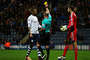 Jermaine Beckford booked during the Sky Bet Championship match between Preston North End and Fulham at Deepdale, Preston, England on 5 April 2016. Photo by Pete Burns.