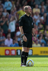 referee Oliver Langford   - Photo mandatory by-line: Nigel Pitts-Drake/JMP - Tel: Mobile: 07966 386802 25/08/2013 - SPORT - FOOTBALL -Vicarage Road Stadium - Watford -  Watford v Nottingham Forest - Sky Bet Championship