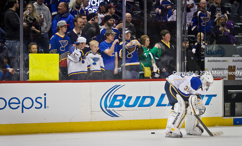SHOT 3/8/14 1:43:32 PM - St. Louis Blues goaltender Ryan Miller #39 during pre-game warmups prior to their regular season Western Conference game against the Colorado Avalanche at the Pepsi Center in Denver, Co. The Blues won the game 2-1.<br /> (Photo by Marc Piscotty / &copy; 2014)