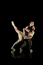 "© Copyright licensed to London News Pictures. 08/11/2010. Pieter Symonds and Jonathan Goddard dance in ""Awakenings"".  Rambert Dance Company presents ""Awakenings', based on the book by Oliver Sachs, at Sadler's Wells, London. Choreographed by Aletta Collins, and with a specially-commissioned score by American composer, Tobias Picker, this is a premiere for London. The company are: Angela Towler, Pieter Symonds, Gemma Nixon, Thomasin Gulgec, Jonathan Goddard, Robin Gladwin, Malgorzat Dzierzon, Eryck Brahmania. Commissioned by Daniel Katz Limited. Lighting design by Yaron Abulafia. Design by Miriam buether."