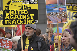 November 12, 2016 - Manchester, England, United Kingdom - People attend the pre-demonstration rally against hydraulic fracturing, also known as 'fracking', on November 12, 2016 in Manchester, England. Hydraulic Fracturing is expected to take place in various locations around England, whilst the Scottish and Welsh Governments has introduced moratoriums on the gas extraction method. Although fracking is a controversial form of energy extraction, due to environmental concerns, fracking is supposed to provide cheaper and more secure energy for the United Kingdom's domestic energy market. (Credit Image: © Jonathan Nicholson/NurPhoto via ZUMA Press)