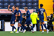 Eamonn Brophy (#9) of Kilmarnock FC celebrates afer scoring the second goal during the Ladbrokes Scottish Premiership match between Kilmarnock FC and Heart of Midlothian FC at Rugby Park, Kilmarnock, Scotland on 23 November 2019.