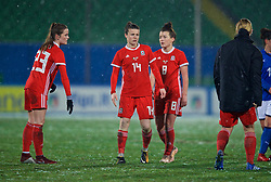 CESENA, ITALY - Tuesday, January 22, 2019: Wales' Gwennan Davies (L), Hayley Ladd (C) and Angharad James (R) after the International Friendly between Italy and Wales at the Stadio Dino Manuzzi. Italy won 2-0. (Pic by David Rawcliffe/Propaganda)