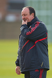 LIVERPOOL, ENGLAND - Wednesday, March 17, 2010: Liverpool's manager Rafael Benitez training at Melwood Training Ground ahead of the UEFA Europa League Round of 16 2nd Leg match against LOSC Lille Metropole. (Photo by David Rawcliffe/Propaganda)