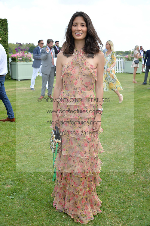 Jasmine Hemsley at Cartier Queen's Cup Polo, Guard's Polo Club, Berkshire, England. 18 June 2017.<br /> Photo by Dominic O'Neill/SilverHub 0203 174 1069 sales@silverhubmedia.com