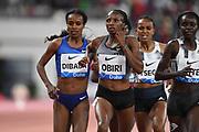 Hellen Obiri (KEN) wins the women's 3,000m in 8:25.60 during the IAAF Doha Diamond League 2019 at Khalifa International Stadium, Friday, May 3, 2019, in Doha, Qatar