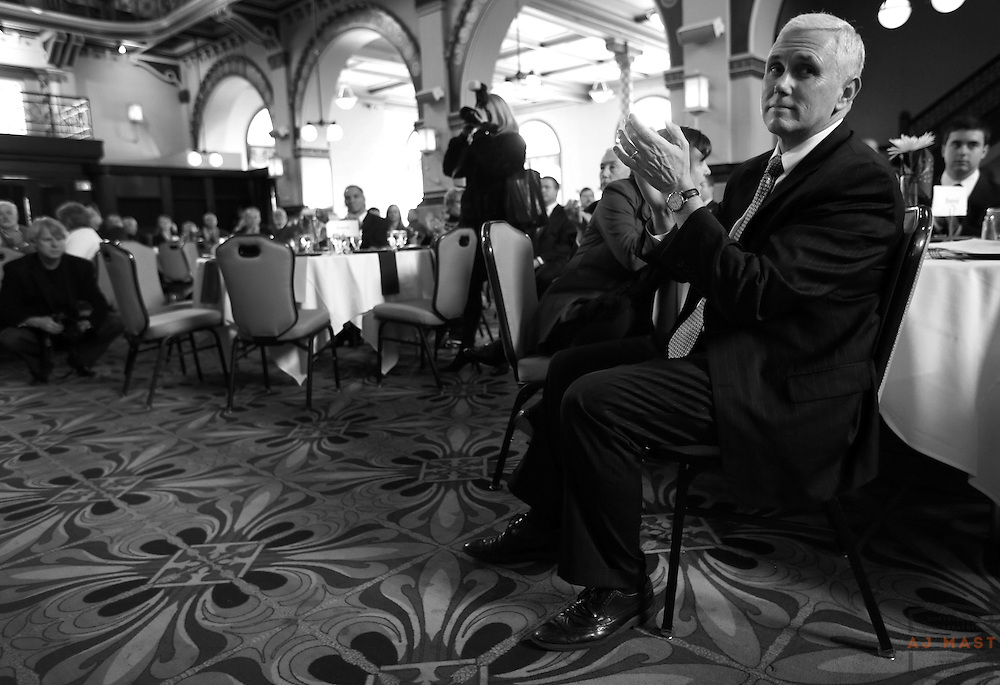 Gov. Elect Mike Pence at a breakfast before his inauguration in Indianapolis, Monday January 14,2013. (Photo by AJ Mast)