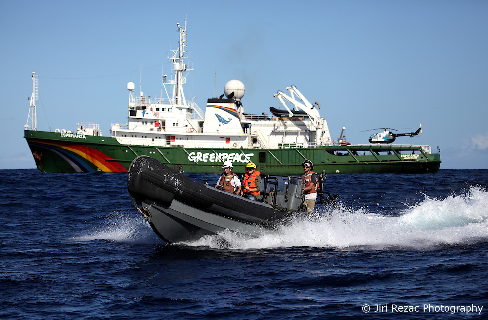 INDIAN OCEAN 28APR13 - Boat crew sets off from the Greenpeace ship Esperanza while on patrol documenting fishing activities in the Indian Ocean.<br /> <br /> <br /> <br /> jre/Photo by Jiri Rezac / Greenpeace