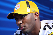 TAMPA, FL - JANUARY 27: Safety Ryan Clark #25 of the AFC Pittsburgh Steelers speaks to the media during Super Bowl XLIII Media Day at Raymond James Stadium on January 27, 2009 in Tampa, Florida. ©Paul Anthony Spinelli *** Local Caption *** Ryan Clark