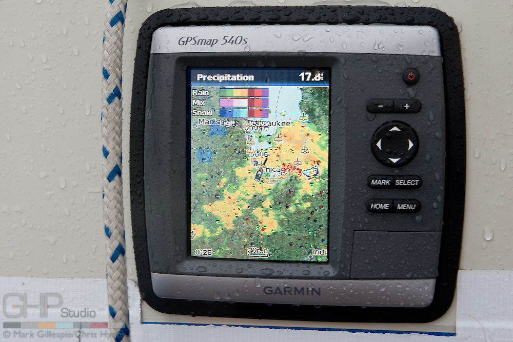 Did I mention it was raining? Our GPS receives radar maps and weather statements via satellite.