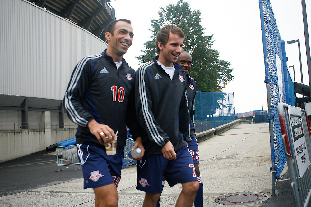 Thursday October 12th 2006. .Giants Stadium, East Rutherford, New Jersey. United States..Red Bulls French soccer player Youri Djorkaeff (left) is about to start practicing with his team. .Saturday October 14th 's game against Kansas City at the Giants Stadium could be his last one as a professional player.